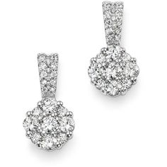 Diamond Flower Cluster Drop Earrings in 14K White Gold, .50 ct. t.w. -... (9.755 RON) ❤ liked on Polyvore featuring jewelry, earrings, white gold earrings, diamond flower earrings, stud earrings, cluster stud earrings and white gold diamond earrings
