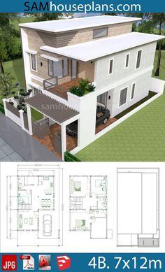 #7x12m #8x15 #grundstuck #hausplane #houseplans #mit #schlafzimmer  Hauspläne 7x12m mit 4 Schlafzimmer Grundstück 815  Sam Hauspläne