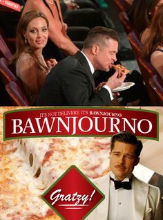 brad pitt eating pizza