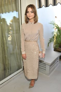 Pin for Later: A Look Back at Jenna Coleman's Rise to Stylish Stardom  A shimmering Burberry fish-scale skirt and matching blouse were a chic choice for a Burberry and BAFTA party in LA in October 2014.