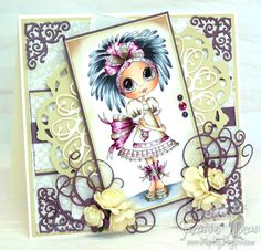 this card uses a cute Sherri Baldy digi image and is colored with Copics...by Suzanne J Dean of ScrapBitz  #crafts #cards #copics