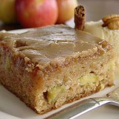 A slice of delicious Fresh Apple Cake with Brown Sugar Glaze!