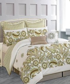 Taupe Paisley Comforter Set | zulily
