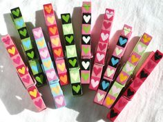 10 PAINTED HEARTS CLOTHESPINS Valentines magnetic by SugarAndPaint, $31.00