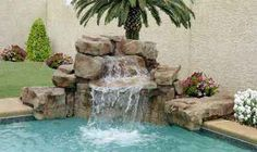 pool waterfalls | Pool Waterfall Systems,Installation,RicoRock,Michigan,Indiana,Berrien