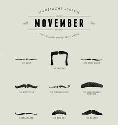 We are recognizing Movember to support Awareness to Prostate Cancer! Grow your stache!!