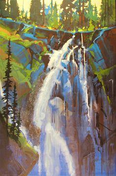 The Realities of a Fine Art Career Portrait of Hidden Falls #3 by Stephen Quiller, 36 x 24, water media.