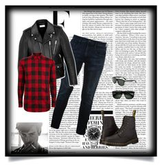 """""""Untitled #10"""" by aceboss ❤ liked on Polyvore featuring Dr. Martens, Ray-Ban, Replay, Yves Saint Laurent, Dsquared2, OMEGA, Nicki Minaj, men's fashion and menswear"""