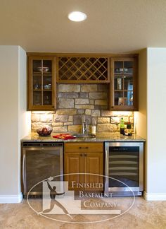 bar area with wine rack and fridge - match style to between post bar