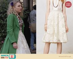 Carrie's cream flared skirt on The Carrie Diaries. Outfit Details: http://wornontv.net/26810 #TheCarrieDiaries #fashion