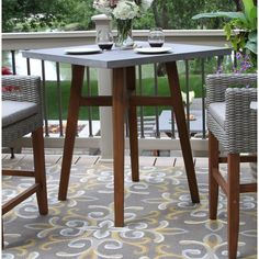 Outdoor Interiors Counter Height Square Composite With Light Grey Wicker Chairs Patio Bar Set - JCPenney Wicker Side Table, Outdoor Side Table, Glass Side Tables, Metal Side Table, Wicker Chairs, Solid Wood Dining Table, Wooden Tables, Solid Wood Coffee Table, Patio Bar Set