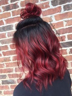 Black Hair Ombre, Ombre Hair Color, Cool Hair Color, Black To Red Hair, Black To Purple Ombre, Short Red Hair, Red Balayage Hair, Hair Highlights, Red Balyage