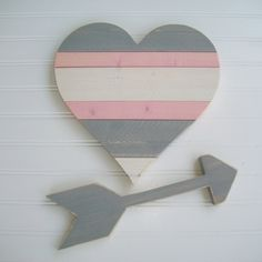 This adorable heart and arrow set will add instant charm to your baby girls boho nursery . The wood heart and arrow also look great in a tribal nursery, woodland nursery or big girl room . It would also make a cute accent for a rustic wedding   The COST of this LISTING is for OnE WOODEN PiNk and GRey HeARt and GRey ARROw  ~*~*~*~*~*~*~*~*~*~*~*~*~*~*~*~*~*~*~*~*~*~*~*~*~*~  ~~~~ IF YOUD LIKE TO ORDER this in AnoTHeR CoLoR , DO NOT PURCHASE THIS LISTING :)  Instead, please contact me first to…