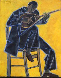 Bouzouki Player, 1954 by John Craxton (English, 1922 Naive, Romanticism Artists, Music Illustration, Painting People, Greek Art, Photomontage, Contemporary Paintings, Artist Art, Musical
