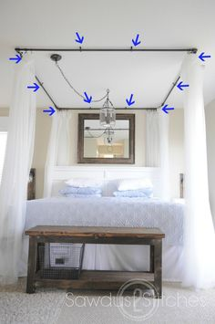 Great step by step instructions for making a canopy bed and cheap. Would be cute for a little girls room too for a hide away space