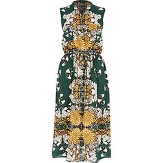 Green vintage print sleeveless shirt dress £45.00