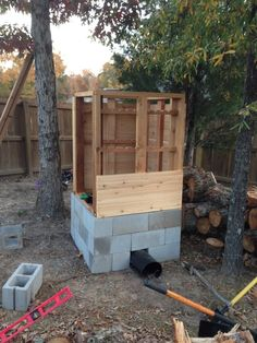 How to Build a Cedar Smokehouse: I started construction on a new smokehouse several weeks ago. Its going slow, never seem to. Smoke House Plans, Smoke House Diy, Build A Smoker, Diy Smoker, Homemade Smoker Plans, Outdoor Projects, Diy Projects, Outdoor Decor, Backyard Smokers