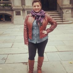 #ChubbyChique 11-7-2014 Touring Boston in black ponte pants by Sanctuary via #StitchFix #StitchFixFriday , dark chambray shirt by Mossimo via #Target , brown faux leather jacket by #Guess , cognac riding boots by Bamboo, purple scarf via #LeTote