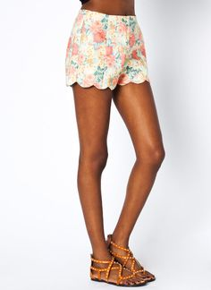 floral scalloped denim shorts