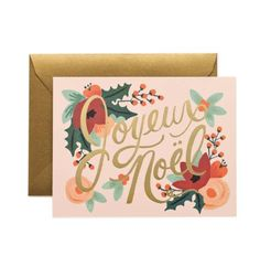 JOYEUX NOEL HOLIDAY CARD  By Rifle Paper Co, $5. riflepaperco.com