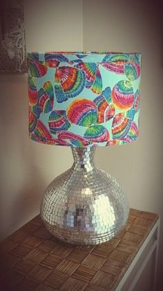 Tie dye butterfly fabric covered oval lamp shade by OhTheShade