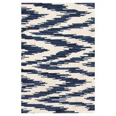 Dash and Albert Rugs Hand Woven Blue/White Indoor Area Rug Rug Size: 8' x 10'