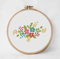 retro flowers cross stitch pat