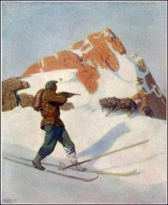 Scribners 61 1917 The fight in the peaks Canvas Art - Newell C Wyeth x Man Vs Nature, Canvas Art, Painting, Painting Art, Painted Canvas, Paintings, Canvas Wall Art, Drawings