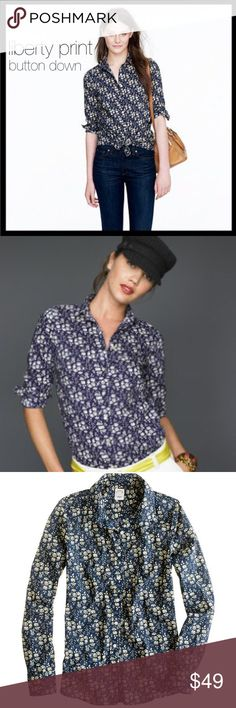 j. crew // liberty floral shirt Washed for extra softness, this wear-anywhere blouse features precisely placed darts and for a slimming, waist-defining fit. Cotton. Machine wash. This is one of the original and super rare J. Crew Liberty of London prints from 2007. I love the subtlety of this print. It goes with everything! ⭐️ Reduced from $49. J. Crew Tops Button Down Shirts