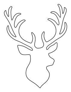 Stag head pattern. Use the printable outline for crafts, creating stencils, scrapbooking, and more. Free PDF template to download and print at http://patternuniverse.com/download/stag-head-pattern/ #scrapbookideas