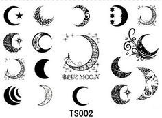 12pcs/lot Free Shipping sexy moon star Tattoo Stickers Temporary Tattoos Body Art Stencil Designs Waterproof Pattern-in Temporary Tattoos from Health