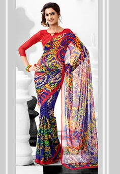 Blue and Red Faux Georgette Saree with Blouse