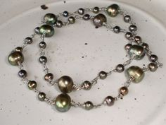 Tahitian Pearls Necklace Black Pearl Peacock by expressyourself