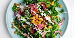 Try our vegetarian caesar salad recipe. This crispy chickpea and kale caesar salad is a great healthy twist on a classic caesar salad suitable for vegetarians 500 Calorie Meals, No Calorie Foods, Low Calorie Recipes, Classic Caesar Salad, Kale Caesar Salad, Veg Recipes, Healthy Dinner Recipes, Salad Recipes, Clean Eating