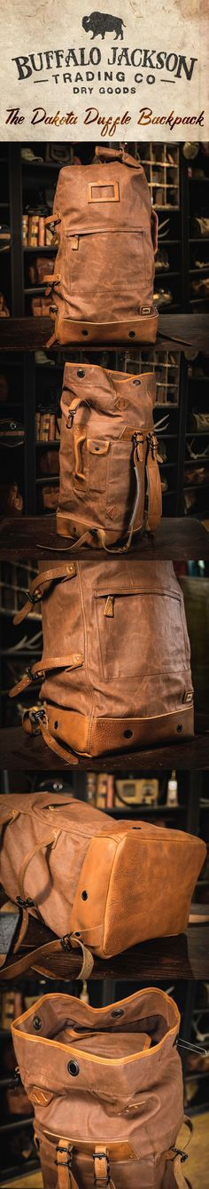 Crafted of waxed canvas and full grain leather with a distressed vintage finish, this men's vintage military duffle backpack was built to honor the memory of good men and good days. Also available in charcoal (shown here in tan). vintage military backpack   vintage duffle backpack
