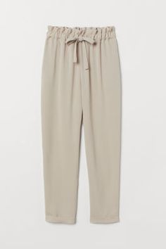 Pants in woven, crêped fabric. High, elasticized paper-bag waist with drawstring, discreet side-seam pockets, and tapered legs. Skinny Fat, Pants For Women, Clothes For Women, Linen Trousers, Tumblr Outfits, Over 50 Womens Fashion, Embroidery Fashion, Kurta Designs, Professional Outfits