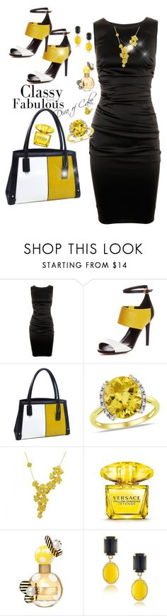 """yellow & Black outfit"" by Diva of Cake on  Polyvore featuring Dolce&Gabbana, Dasein, Ice, Carrera y Carrera, Versace, Marc Jacobs and 1st & Gorgeous by Carolee"