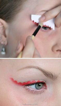 Want to try this stencil eye shadow with a more jagged edge and grey color