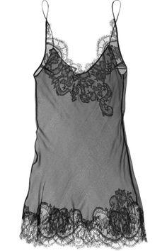 Carine Gilson sheer silk & lace chemise
