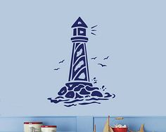 LIGHTHOUSE Nautical Wall Decal 30H x 22.4W Any Color