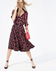 J.Crew women's classic popover shirt in cherry print, pleated midi skirt in cherry print and Signet bag.