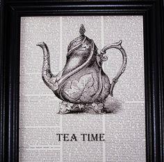 tea time print #teapot, #black&white, #print