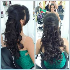 Quince Hairstyles, Work Hairstyles, Hairstyles With Bangs, Bridal Hairstyle Indian Wedding, Indian Bridal Hairstyles, Wedding Hairstyles, Long Hair Wedding Styles, Long Hair Styles, Updo Styles
