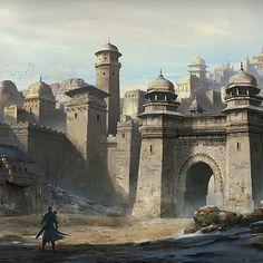 Urban city Desert Wall Gate Towers road ArtStation by Hongyu Hei med Fantasy City, Fantasy Castle, Fantasy Places, Fantasy Map, Fantasy Artwork, Fantasy World, Sci Fi Fantasy, Fantasy Art Landscapes, Fantasy Landscape