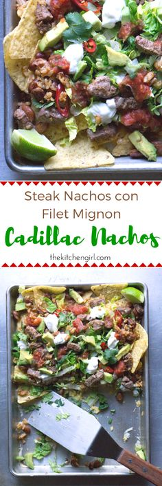 Cadillac Nachos with filet, beans, rice, tons of veggies, sour cream, and cheese. Steak Nachos con Filet Mignon is gluten free. Recipe on thekitchengirl.com