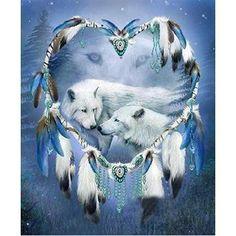 bfacaaff08 Mystic Wolf Dreamcatcher - Alternate Collection - Frost-DIY 5d diamond  painting cross stitch embroidery. Heartful Diamonds