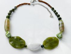 Statement Handmade Beaded Necklace, Beadwork, Jade Necklace, Agate Necklace, Bohemian Necklace, Chunky Necklace, Gemstone Jewelry on Etsy, $38.00
