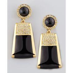 Rachel Zoe Rectangle Drop Clip Earrings ($250) ❤ liked on Polyvore