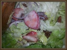 Strawberry, candied pecan, poppy seed salad :-) best ever.