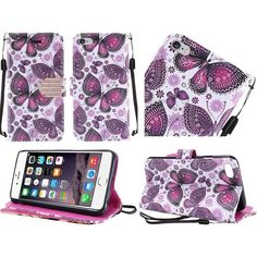 Insten / White Butterfly Case Cover Lanyard with Stand/ Diamond For Apple iPhone 6 Plus/ 6s Plus #2237917